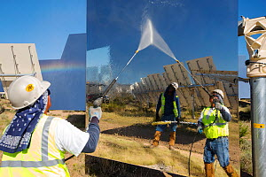Workers washing the heliostats to maximise reflective power at the Ivanpah Solar Thermal Power Plant,  the largest solar thermal plant in the world. It covers 4,000 acres of desert and produce 392 meg... - Ashley Cooper