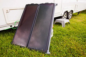 A solar water heating panel attached to a caravan. June 2012 - Ashley Cooper