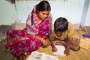 Young boy doing homework in house lit by electricity from battery. Batteries are solar charged from WWF project to supply electricity to a remote island in the Sunderbans, Ganges Delta, India. Decembe...  -  Ashley Cooper
