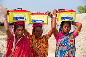 Women collecting solar charged batteries from  WWF project to supply electricity to a remote island in the Sunderbans, Ganges Delta, India. December 2013 - Ashley Cooper