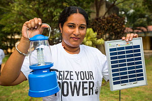 Solar lantern powered by a solar panel, part of a display to promote renewable energy in Karnataka, India. December 2013 - Ashley Cooper