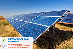 Asia's largest solar popwer station, the Gujarat Solar Park, in Gujarat, India. It has an installed capacity of 1000 MW. December 2013 - Ashley Cooper