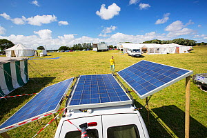 Van with solar panels attached at a protest against fracking at a farm site at Little Plumpton, near Blackpool, Lancashire, UK, where the council for the first time in the UK, has granted planning per...  -  Ashley Cooper