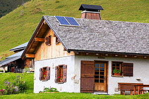 Solar panels on a visitor centre in the Vallon de la Lex Blanche below Mont Blanc, Alps, Italy. August 2014 - Ashley Cooper