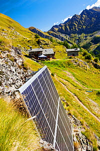 Solar panels attached to a cliff above the Refuge Bertone, which provied electricity to this off grid mountain hut. Tour du Mont Blanc, Alps, Italy. August 2014 - Ashley Cooper