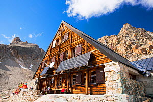 Solar panels on the Cabanne D' Orny in the Swiss Alps, providing electricity for this off grid mountain hut at over 10,000 feet. Switzerland, August 2014 - Ashley Cooper