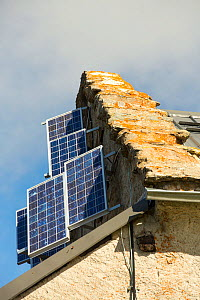 Solar panels on the refuge on the Col du Balme between Switzerland and France. September 2014 - Ashley Cooper
