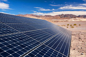 Solar panels at the Furnace Creek Visitor Centre in Death Valley. Death Valley is the lowest, hottest, driest place in the USA, with an average annual rainfall of around 2 inches, some years it does n... - Ashley Cooper