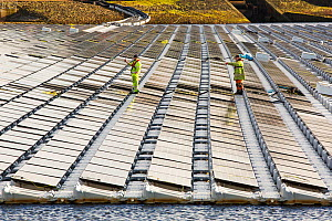 Floating solar farm being grid connected on Godley Reservoir in Hyde, Manchester, England, UK. February 2016 - Ashley Cooper