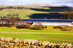 Solar panels on a new cattle shed, Wigglesworth Hall Farm. Yorkshire Dales, Lancashire, England, UK February 2016 - Ashley Cooper