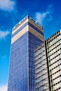 The Cooperative CIS Tower in manchester, UK. The tower has been covered in 7000 Solar panels and generates enough green electricity to power 55 homes, or 180, 000 Kw hours per year. November 2011  -  Ashley Cooper