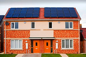Hutton Rise housing development in Sunderland, UK.  All of the houses have either solar thermal water heating or solar electric panels, some have both. December 2011 - Ashley Cooper