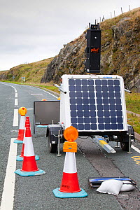 Set of traffic lights at road works, that are powered by a solar panel on Shap Summit, Lake district, England, UK. August 2010  -  Ashley Cooper
