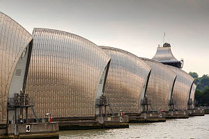 The Thames barrier on the River Thames in London. It was constructed to protect the capital city from storm surge flooding. London, England, UK, June 2014 - Ashley Cooper