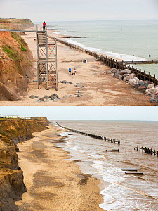 Composite shot showing coastal erosion at Happisburgh, Norfolk, UK. The first shot taken in 2010 shows the steps leading to the beach, the second shot taken in 2015 shows the two concrete blocks that... - Ashley Cooper