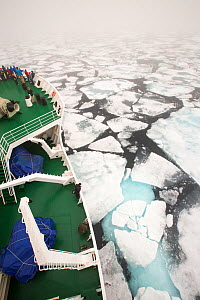 The Russian research vessel, AkademiK Sergey Vavilov an ice strengthened ship on an expedition cruise to Northern Svalbard, Norway, July 2013 - Ashley Cooper