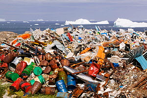 Rubbish dumped on the tundra outside Illulissat, Greenland with icebergs behind from the Sermeq Kujullaq or Illulissat Ice fjord, UNESCO World Heritage Site, Greenland. July 2008  -  Ashley Cooper