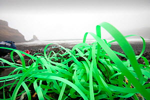 Plastic debris washed ashore from the sea at Talisker Bay on the Isle of Skye, Scotland, UK. February 2012  -  Ashley Cooper