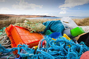 Plastic rubbish washed ashore from the sea in Glen Brittle, Isle of skye, Scotland, UK. May 2012  -  Ashley Cooper
