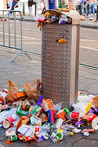 Litter on the streets of Amsterdam following the annual Queen day celebrations, Netherlands. April 2013  -  Ashley Cooper