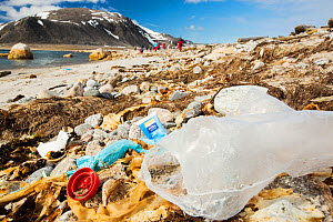Plastic rubbish on a remote beach in Northern Svalbard, only about 600 miles from the North Pole. The plastic has been washed ashore from the sea by ocean currents. July 2013 - Ashley Cooper