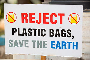 'Reject Plastic Bags, Save the Earth' sign banning plastic bags at the Victoria Memorial Hall in Calcutta, Bengal, India. December 2013  -  Ashley Cooper