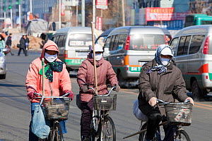 Road sweepers wear  face masks against the air pollution in Suihua city in Northern China.March 2009 - Ashley Cooper