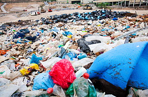 Rubbish on a landfill site in Alicante, Costa Blanca, Murcia, Spain. The site captures bio methane from rotting organic waste.  May 2011  -  Ashley Cooper
