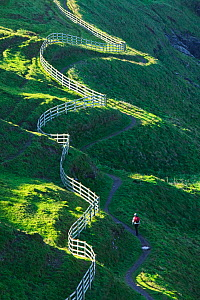Winding fence and the South West Coast Path near Port Isaac,  Cornwall, England, UK. October 2007  -  Ashley Cooper