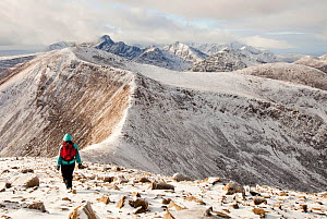 The view west into the Cuillins from Beinn na Caillich summit, behind Broadford on the Isle of Skye, Scotland, UK, with a middle aged woman walker. February 2012 - Ashley Cooper