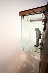 New glass cage drop experience on the Aiguille Du Midi above Chamonix, France. September 2014 - Ashley Cooper