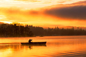 Sunrise over Lake Windermere in Ambleside, Lake District, UK, with a man paddling a Canadian Canoe. December 2014 - Ashley Cooper