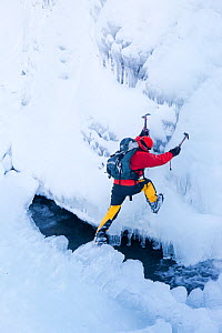 Mountaineer, Mike Withers ice climbing in Fisher Place gill above Thilrmere, Lake District, UK. This waterfall very rarely comes into climbable condition, but did in January 2010. - Ashley Cooper