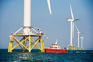 The Ormonde Offshore Wind Farm during construction.  Barrow-In-Furness, Cumbria, England, UK. September 2011 - Ashley Cooper