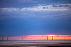 The Rhyl Flats offshore wind farm, off the North Wales coast, in Liverpool bay, between Prestatyn and Rhyl. July 2010  -  Ashley Cooper