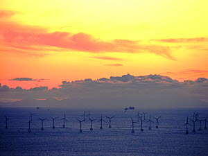 An Irish sea gas platform and wind turbines in the Irish sea from Black Coombe in the Lake district, Cumbria, UK. November 2012  -  Ashley Cooper