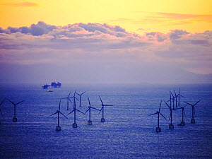 An Irish sea gas platform and wind turbines in the Irish sea from Black Coombe in the Lake district, Cumbria, England, UK. November 2012  -  Ashley Cooper