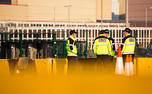 Security guards at one of the entrances to Sellafield nuclear power station near Seascale, West Cumbria, England, UK,  February 2013 - Ashley Cooper