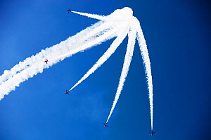 The RAF Red Arrows flying over the Lake District during the Windermere Air Show, England, UK. July.  -  Ashley Cooper