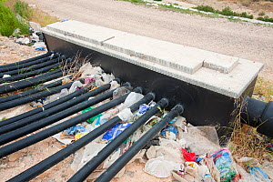 Bio Methane being captured from a landfill site in Alicante, Costa Blanca, Murcia, Spain. This prevents the gas which is a powerful greenhouse gas from escaping to the atmsphere, which can then be use...  -  Ashley Cooper