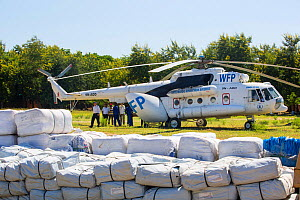 Russian Mi8 helicopter used by the United Nations, World Food Program to deliver food aid to areas of Malawi still cut off by the by the January 2015 flooding around Makhanga and Bangula, Malawi, Marc... - Ashley Cooper