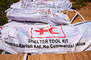 Red Cross shelter tool kits waiting to be airlifted into areas affected by the January 2015 flood. Malawi, March 2015. - Ashley Cooper