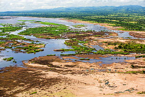 Aerial view of land flooded by the January 2015 floods with washed away road, near Makhanga, Malawi, March 2015. - Ashley Cooper