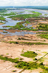 Aerial view of flooded farmland and roads after the January 2015.  Makhanga, Malawi. March 2015. - Ashley Cooper