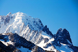 Aiguille Verte and Les Drus in the Mont blanc range above Chamonix, French Alps, France, September 2014.  -  Ashley Cooper