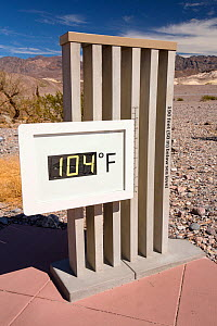 Thermometer at the Furnace Creek Visitor Centre in Death Valley. Death Valley is the lowest, hottest, driest place in the USA, with an average annual rainfall of around 2 inches, some years it does no...  -  Ashley Cooper