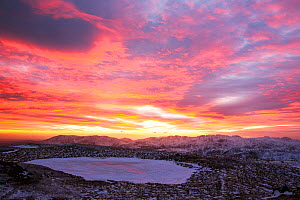 View south west from the summit of Red Screes at sunset in the Lake District, UK, February 2015 - Ashley Cooper