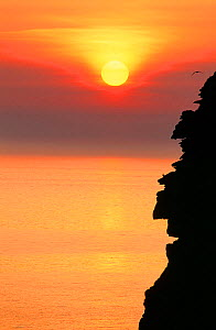 Sunset over the sea cliffs of St Bees Head West, Cumbria, England, UK. - Ashley Cooper
