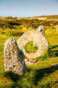 Men an Tol stone near St Just in Cornwall, UK. This late Neolithic monument is thuoght to have been part of a now disappeared stone circle or an entrance to an old burial chamber - Ashley Cooper