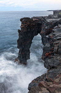 Holei Sea Arch on the edge of the Kupaianaha Lava Shield, Hawaii Volcanoes National Park, Hawaii. December 2016.  -  Kirkendall-Spring